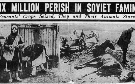 Millions of Ukrainian peasants starved to death