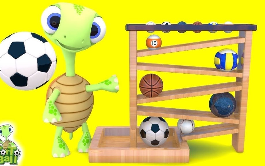 LEARN BALLS Turtle Wooden Press Ball and 3D Sport Balls Kids Toddler Educational Video | T