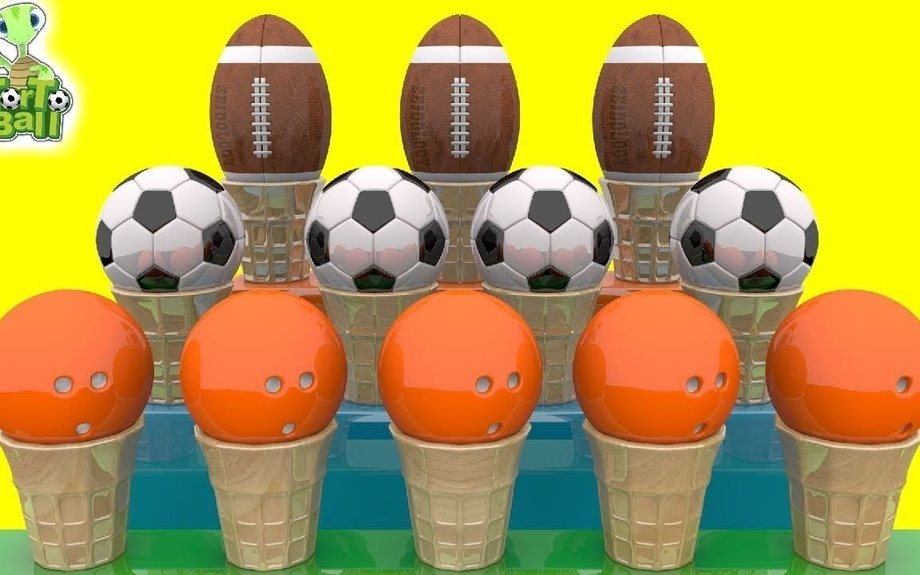 LEARN BALLS Cone Ice Cream Soccer Ball Bowlingball Turtle For Children and Kids | Torto Ba