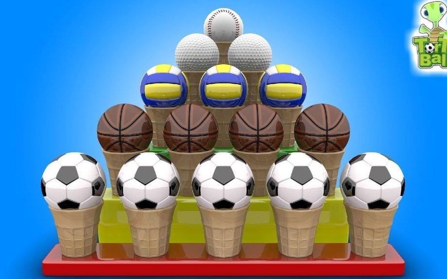 LEARN BALLS Ice Cream Cone Soccer Ball Basketball for Children and kids | Torto Ball
