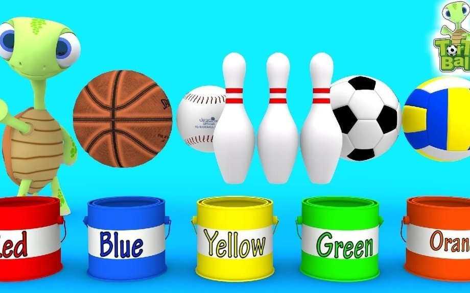 LEARN BALLS - Turtle Painted Soccer ball Bowling ball Basketball For Children and Kids | T