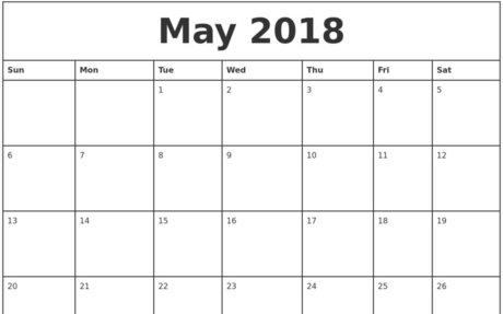 May 2018 Calendar Template {Printable}