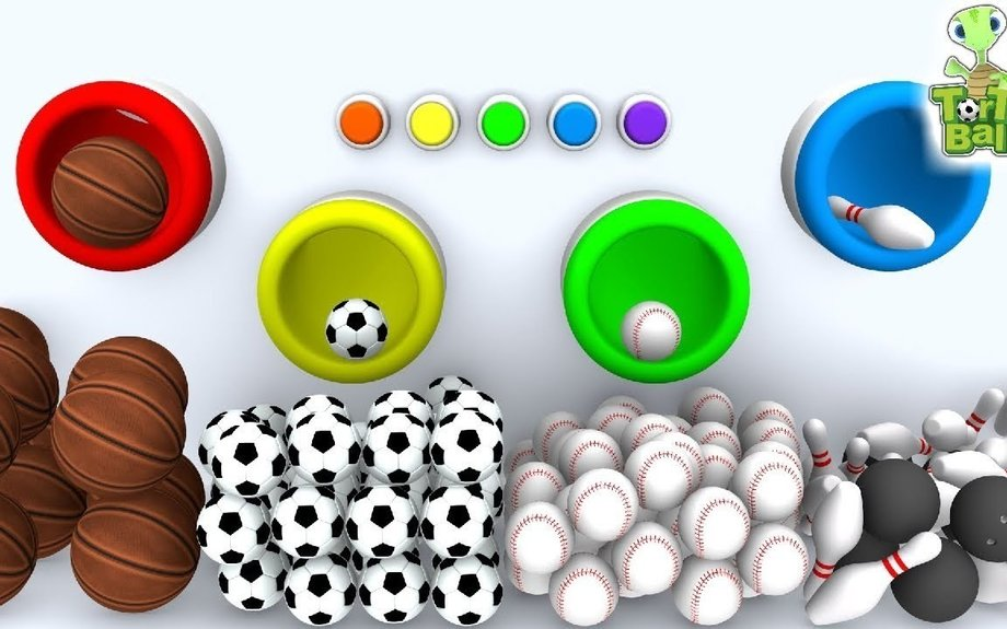LEARN BALLS SPORTS For Children and Kids With Toy Tube Machine | Torto Ball