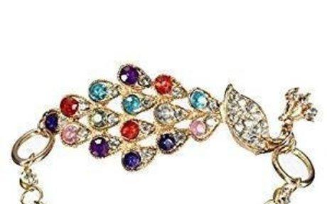 Amazon.com: Peacock Bangle Bracelet Rhinestone Alloy Colorful Girl Gift Adjustable Xmas Gi