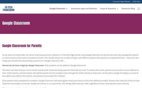 Google Classroom for Parents | Ed Tech Framework