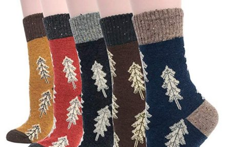 Field4U Women's Crew Socks Wool Thick Winter 5-Pack - Colorful, Medium at Amazon Women's C