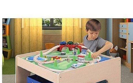 Wooden Activity Table with 45-Piece Train Set & Storage Bin Only At Walmart - Walmart.com