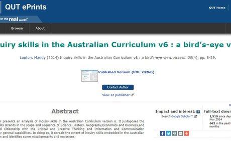 Inquiry skills in the Australian Curriculum v6 : a bird's-eye view  | QUT ePrints