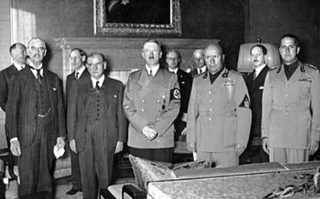 Europeans democracies giving in to Hitler demands to try to stop war from occuring
