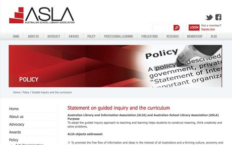 Statement on Guided Inquiry and the curriculum  :: ASLA