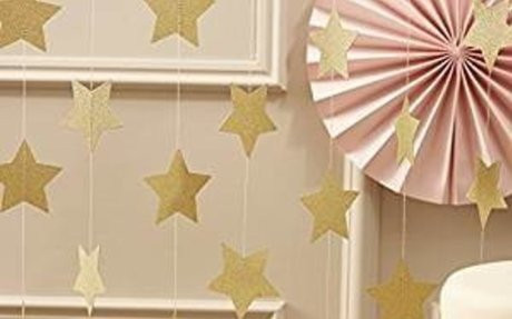 Amazon.com: Ginger Ray Pastel Perfection Sparkling Star Garland Bunting for Weddings or Pa