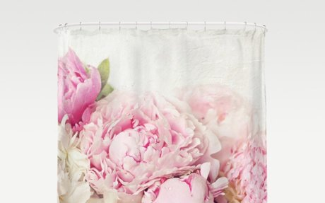 Pink Peonies on white Shower Curtain