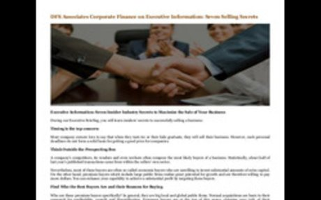 DFS Associates Corporate Finance on Executive Information: Seven Selling Secrets