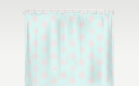 Merry christmas- pink snowflakes and snow on aqua backround Shower Curtain