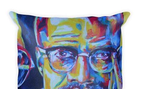 Malcolm X Square Pillow, Heroic Pillow, Machine Washable Cover, Home Decor, Love Me Some P