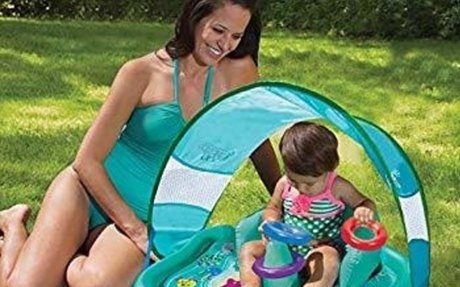 Amazon.com: SwimSchool Beach Baby Splash Mat with Canopy, UPF50, Inflatable and Portable w