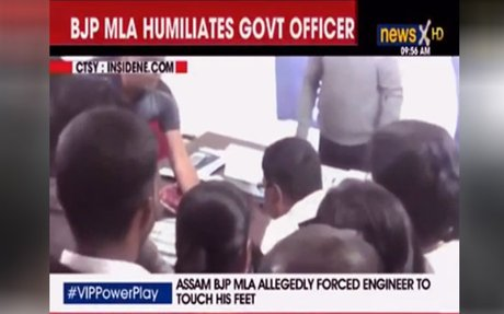 New low to VIP power — BJP MLA 'forces' engineer to touch his feet