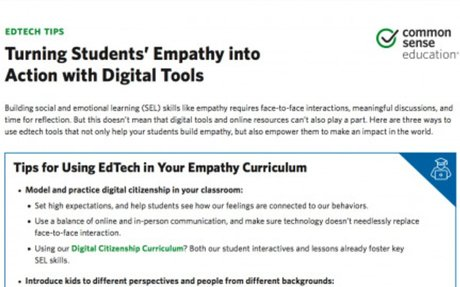 Tip Sheet: Turning Students' Empathy Into Action With Digital Tools