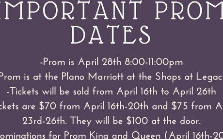 Important Prom Dates