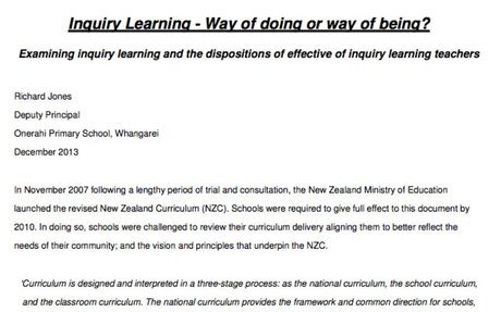 Inquiry Learning: Way of Doing or Way of Being?