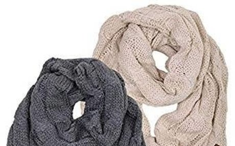 S1-6100-2-6066 Infinity Scarf Bundle - 1 Solid Beige, 1 Solid Mel Grey (2 Pack) at Amazon