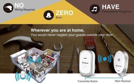 Zgwang Wireless Doorbell Waterproof Door Bell Kit, 1000 Feet Operating, 32 Chimes, 3 Level
