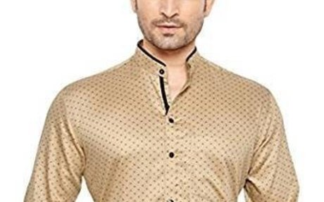 GlobalRang Men's Stand Collar Beige Polka Printed Casual Shirt: Amazon.in: Clothing & Acce