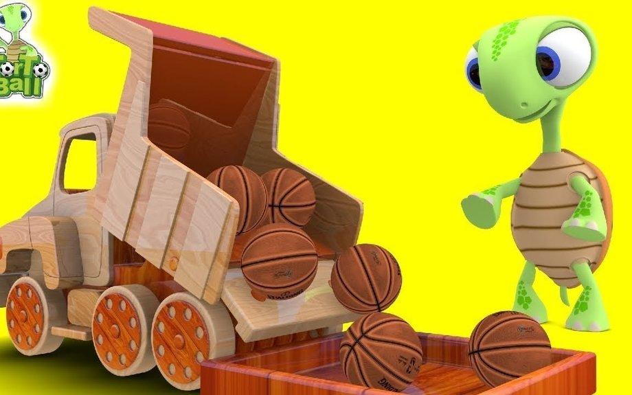 Dump TRUCK BALLS Turtle Learn Basketball and Soccer Ball For Children and Kids | Torto Bal