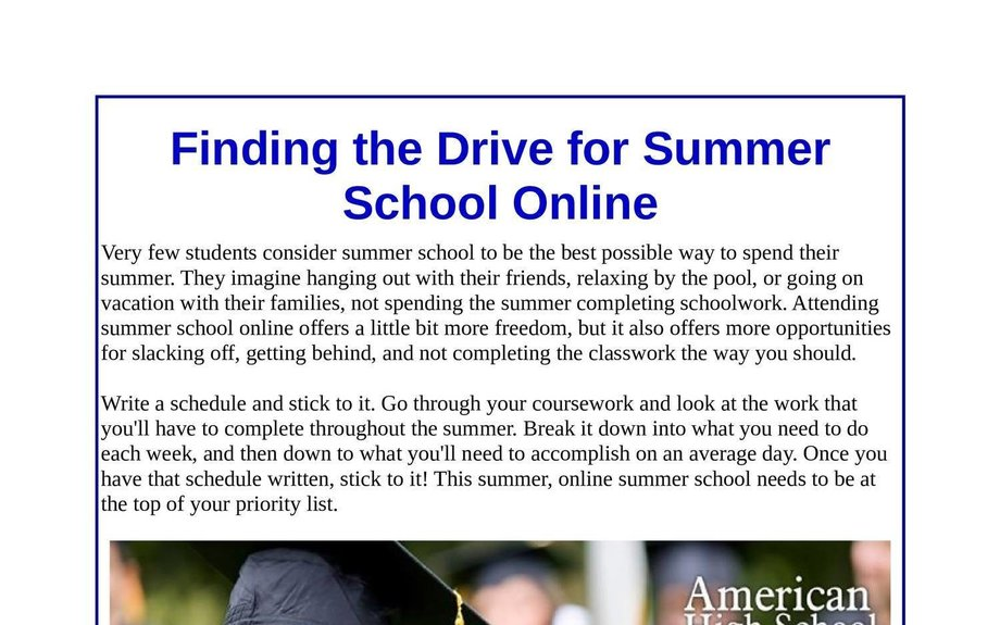 Finding the Drive for Summer School Online