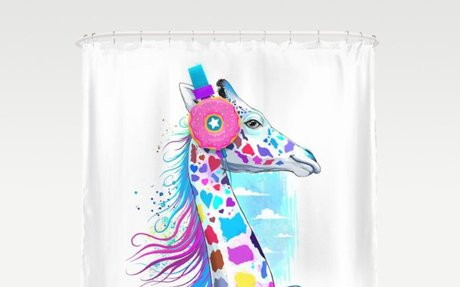 giraffe the headphones of donuts Shower Curtain