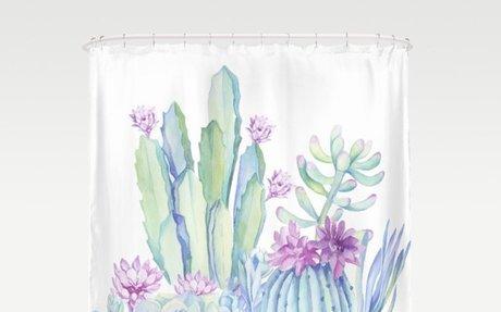 Mixed Cacti White Shower Curtain