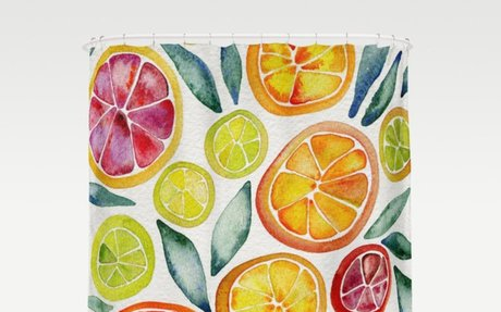 Sliced Citrus Watercolor Shower Curtain