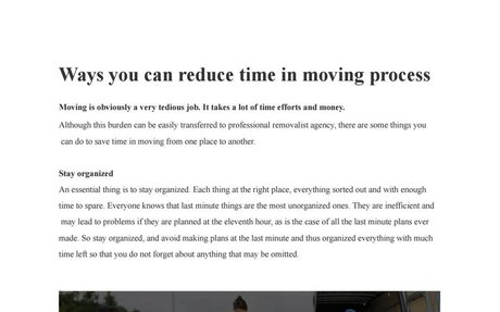 Ways you can reduce time in moving process