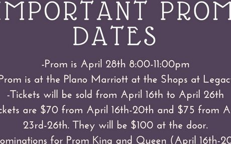 Important Prom Dates & Information