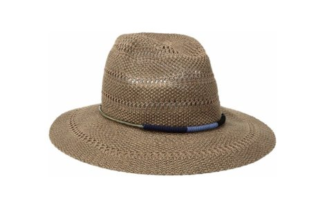 San Diego Hat Company Women's Knitted Panama Fedora Hat with Gold Cord Trim, Black One Siz