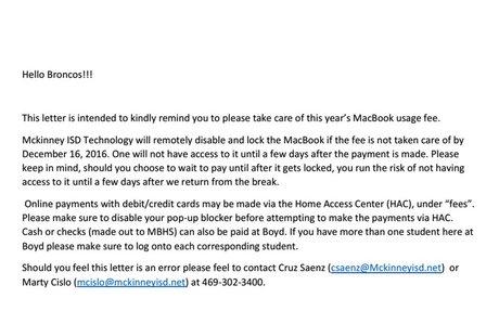 Letter from Mr. Saenz - Associate Principal