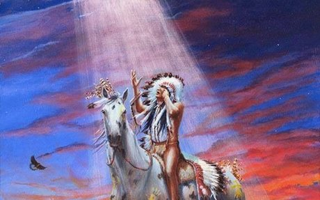 This shows a native american interacting with the Great spirit