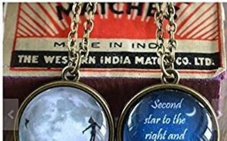 """Amazon.com: Inspired """"Second star to the right ..."""" double sided quote Necklace"""