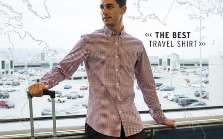 Best Travel Shirt (Red-Plaid)   Men's Wrinkle-Resistant Button...