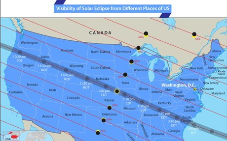 Visibility of Solar Eclipse from Different parts of the US - Answers