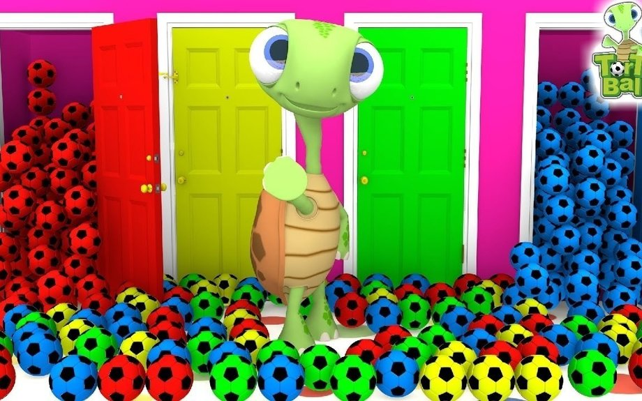 LEARN BALLS - Turtles With Soccer Ball Open The Door to Learn Colors For Kids | Torto Ball