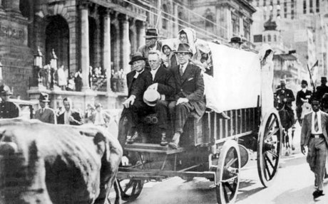 The 1938 Centenary Re-enactment of the Great Trek, passing the City Hall in Darling Street