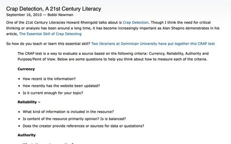 Crap Detection, A 21st Century Literacy