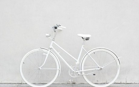 Photograph of A White Bicycle
