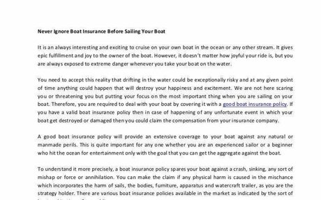 Never Ignore Boat Insurance Before Sailing Your Boat