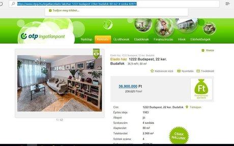 Eladó ház, 1222 Budapest, 22 ker. Budafok - OTP Ingatlanpont