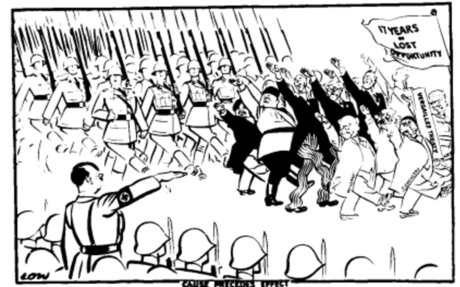 Political cartoon of Hitler holding a military rally, announcing the conscription of army