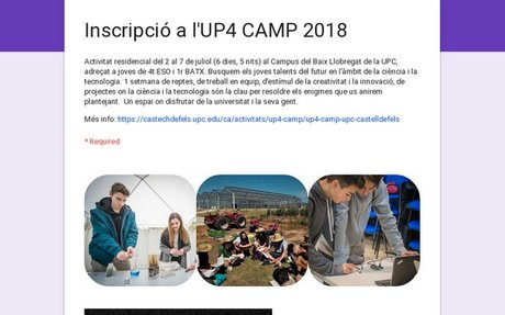 Inscripció a l'UP4 CAMP 2018