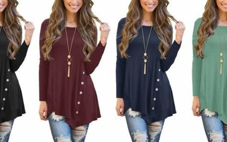 Viishow Women's Short Sleeve Scoop Neck Button Side Tunic Top at Amazon Women's Clothing s