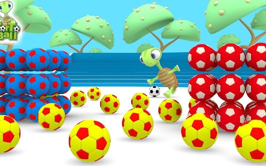 LEARN COLORS and SHAPES with Turtles Kick BALLS For Children and Kids | Torto Ball